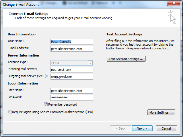 Setting up GMail on Outlook 2007/2010